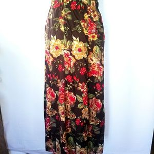 Beautiful fall colored floral maxi skirt